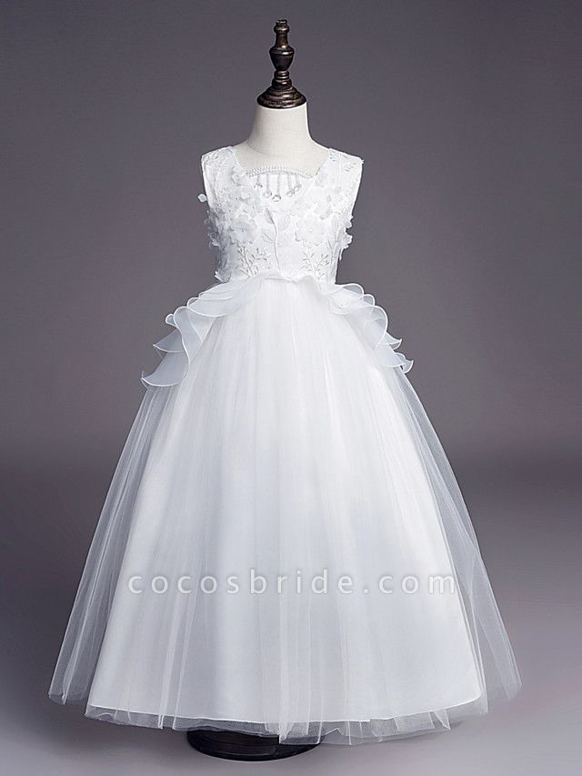 Princess Long Length Wedding / First Communion Flower Girl Dresses - Satin / Tulle Sleeveless Jewel Neck With Belt / Beading / Embroidery