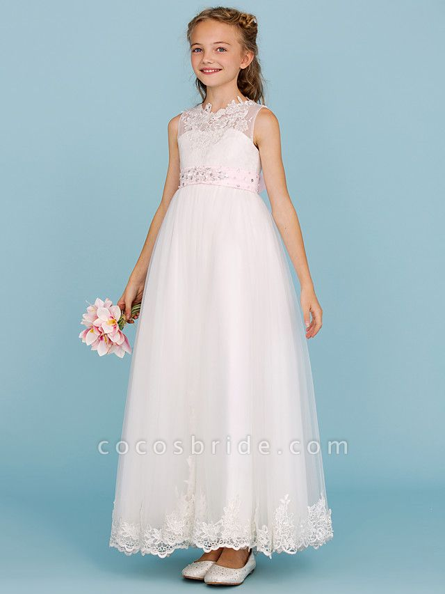Princess / A-Line Crew Neck Ankle Length Lace Over Tulle Junior Bridesmaid Dress With Sash / Ribbon / Beading / Appliques / Wedding Party / Open Back
