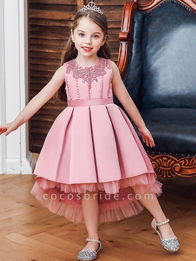 Princess / Ball Gown Knee Length Wedding / Party Flower Girl Dresses - Lace / Satin Sleeveless Jewel Neck With Sash / Ribbon / Pleats / Embroidery