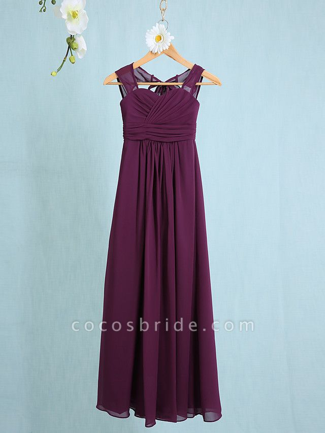 Sheath / Column Straps Ankle Length Chiffon Junior Bridesmaid Dress With Ruched / Natural