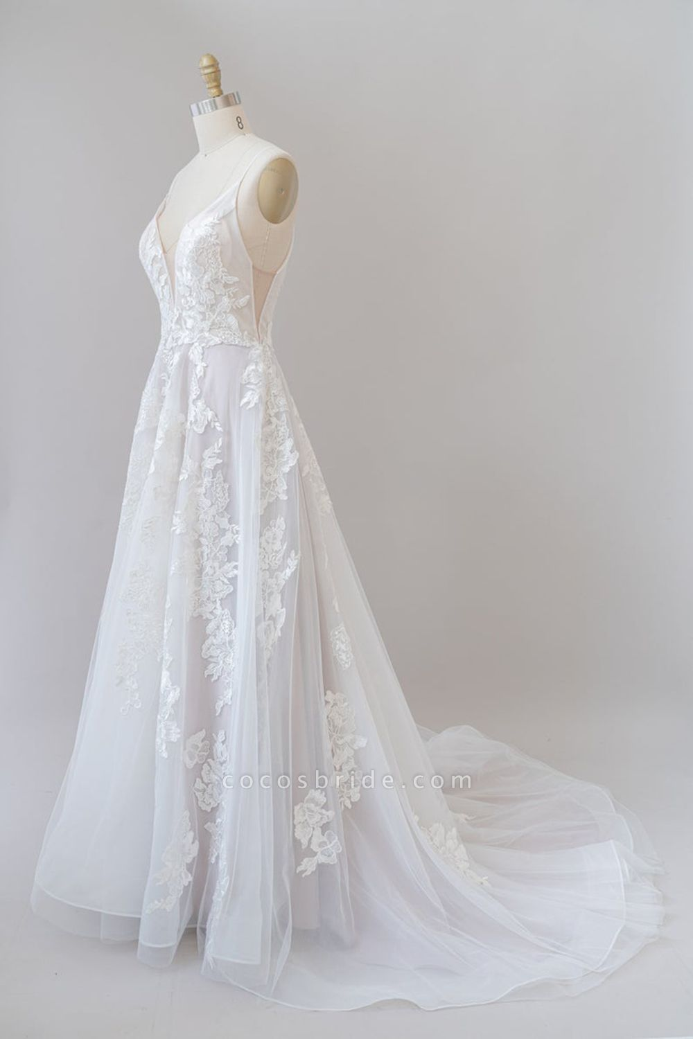 SD1959 Spaghetti Strap Lace Appliques Tulle Wedding Dress
