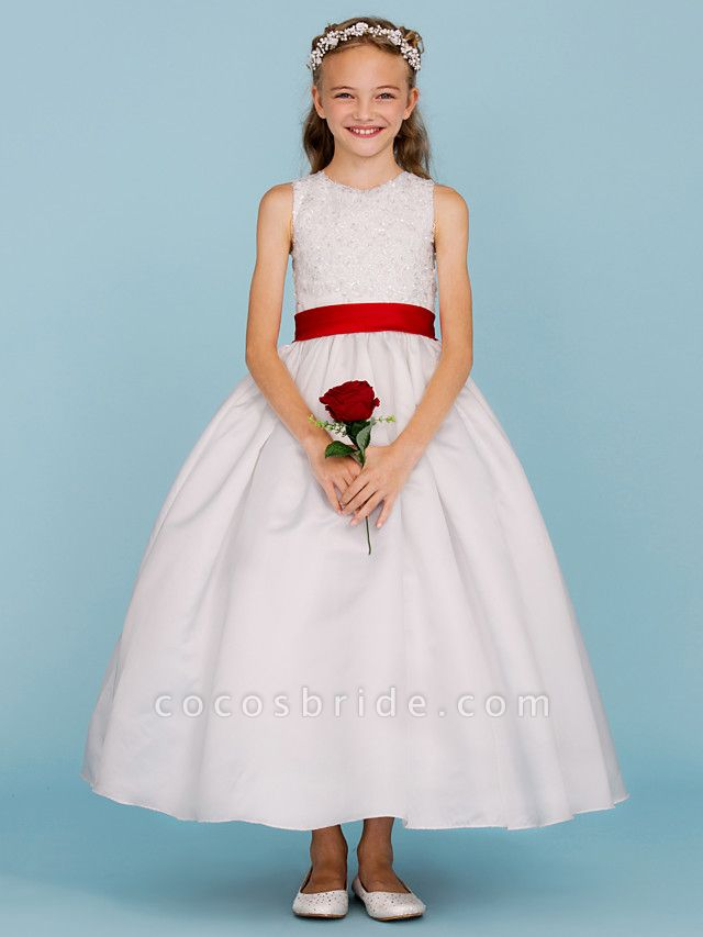 Ball Gown Crew Neck Ankle Length Lace / Satin Junior Bridesmaid Dress With Sash / Ribbon / Bow(S) / Beading / Color Block / Wedding Party