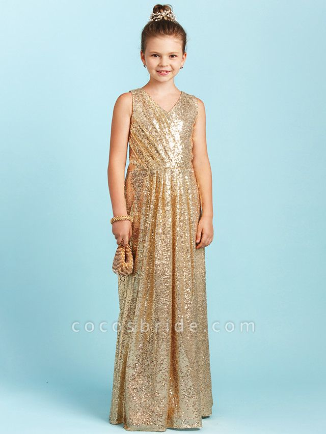 Princess / A-Line V Neck Floor Length Sequined Junior Bridesmaid Dress With Pleats / Sequin