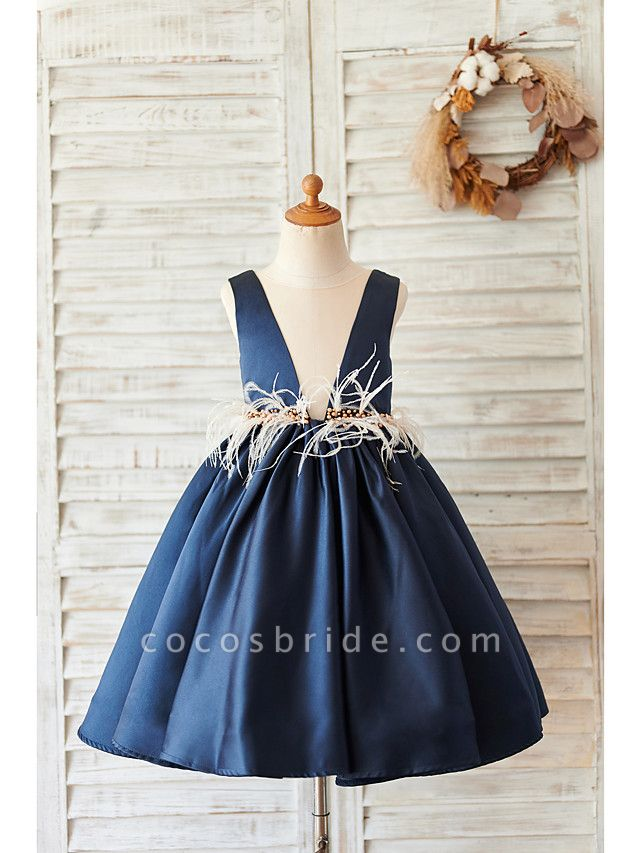 Ball Gown Knee Length Wedding / Birthday Flower Girl Dresses - Satin Sleeveless V Neck With Feathers / Fur / Beading