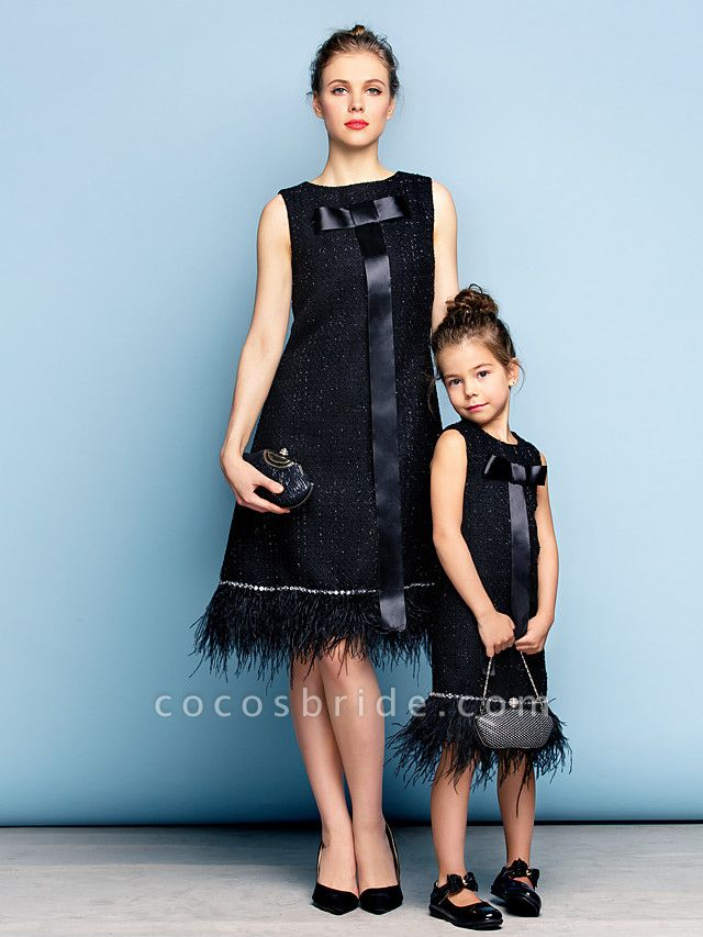 A-Line Knee Length Party / Holiday / Cocktail Party Flower Girl Dresses - Cotton Sleeveless Jewel Neck With Crystals / Mini Me