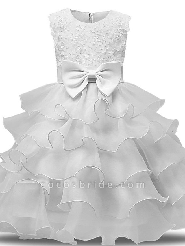 Princess Midi Wedding / First Communion Flower Girl Dresses - Lace / Tulle Sleeveless Jewel Neck With Bows / Belt / Bow(S)