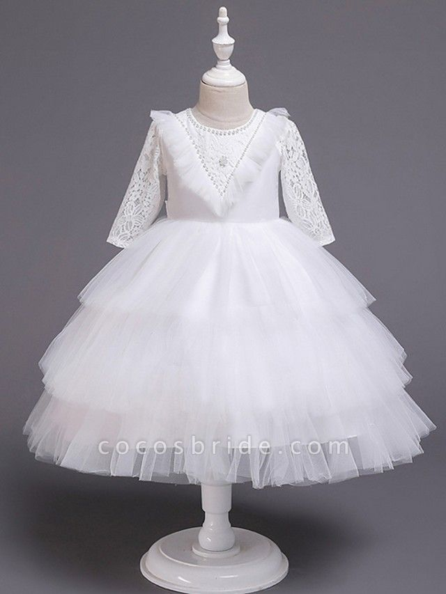 Princess / Ball Gown Knee Length Wedding / Party Flower Girl Dresses - Tulle Long Sleeve Jewel Neck With Bow(S) / Beading / Embroidery