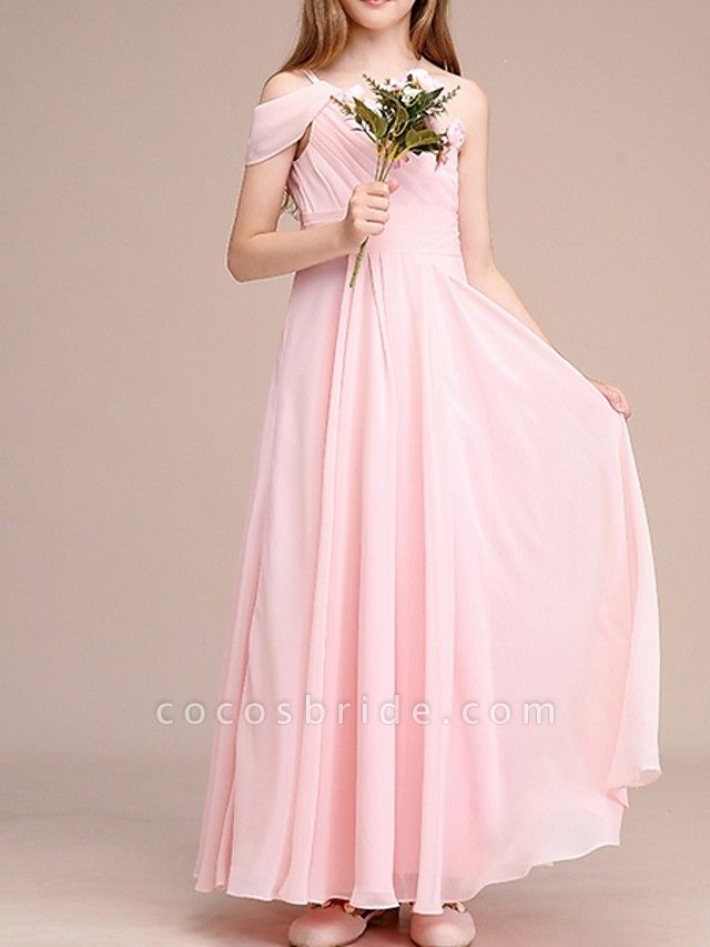 A-Line One Shoulder Ankle Length Chiffon Junior Bridesmaid Dress With Ruching