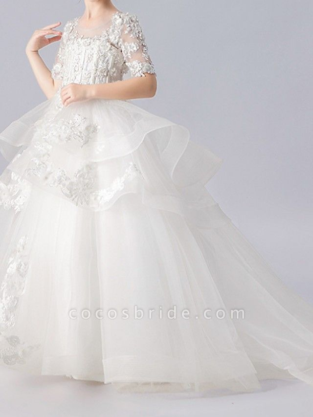 Ball Gown Sweep / Brush Train Pageant Flower Girl Dresses - Polyester Half Sleeve Jewel Neck With Appliques / Tiered