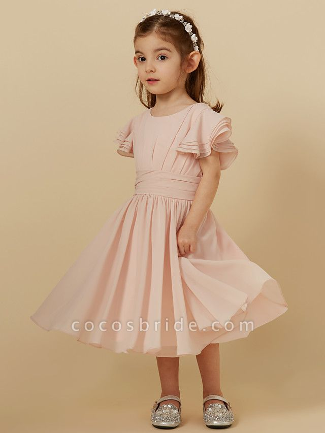 A-Line Tea Length Holiday Flower Girl Dresses - Chiffon Short Sleeve Scoop Neck With Sash / Ribbon