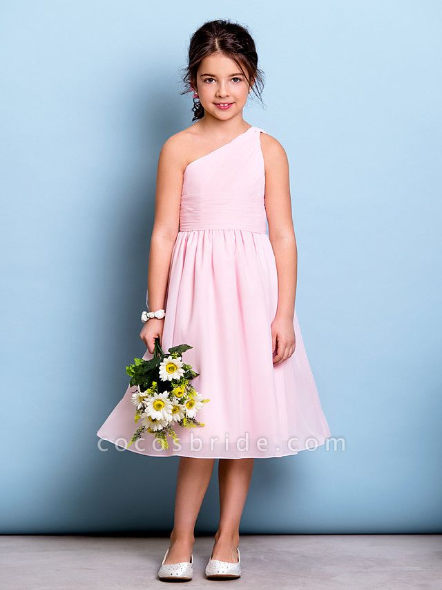 A-Line One Shoulder Knee Length Chiffon Junior Bridesmaid Dress With Ruched / Draping / Side Draping / Natural