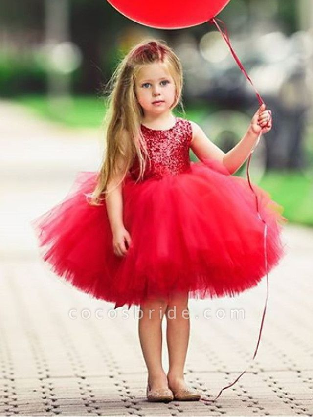 Ball Gown Knee Length Wedding / Party Flower Girl Dresses - Tulle Sleeveless Jewel Neck With Paillette