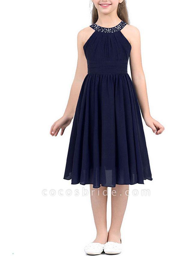 A-Line Round Tea Length Chiffon Junior Bridesmaid Dress With Beading / Ruching