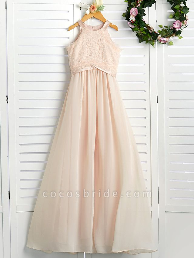 A-Line Crew Neck Floor Length Chiffon / Lace Junior Bridesmaid Dress With Lace / Sash / Ribbon
