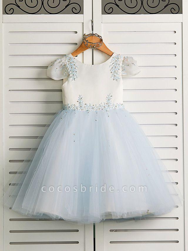 Princess Tea Length Wedding / Birthday / Pageant Flower Girl Dresses - Satin / Tulle Cap Sleeve Jewel Neck With Beading