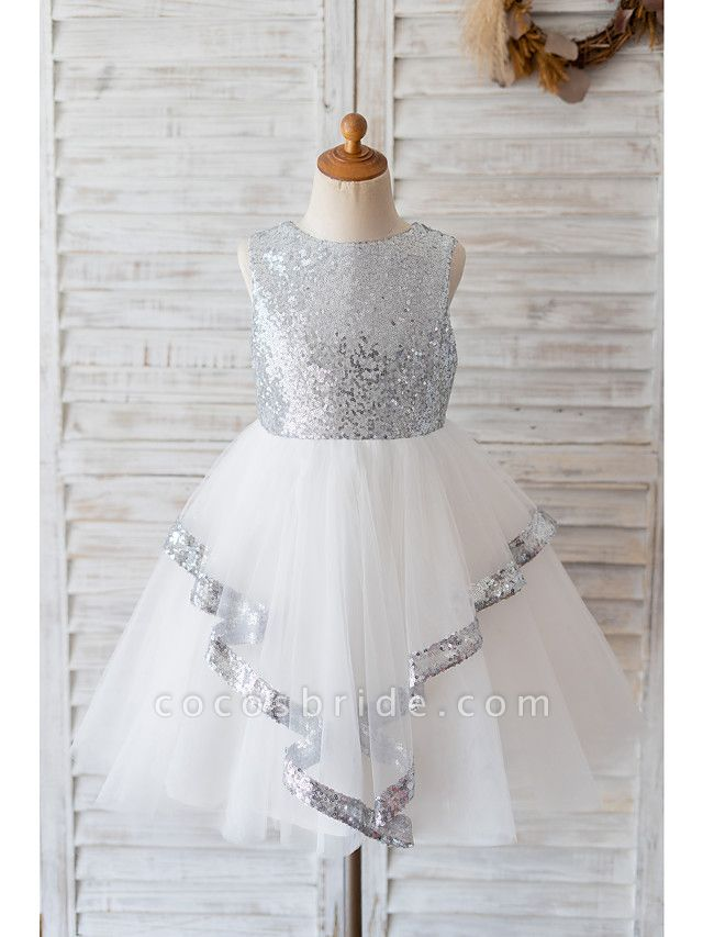 Ball Gown Knee Length Wedding / Birthday Flower Girl Dresses - Tulle / Sequined Sleeveless Jewel Neck With Bow(S)