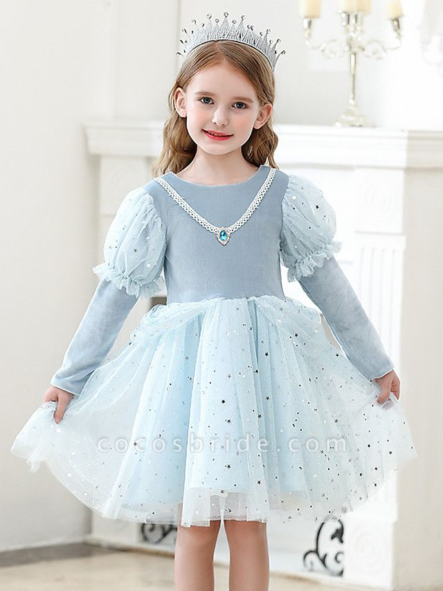 Princess / Ball Gown Knee Length Wedding / Party Flower Girl Dresses - Tulle Long Sleeve Jewel Neck With Crystals / Paillette