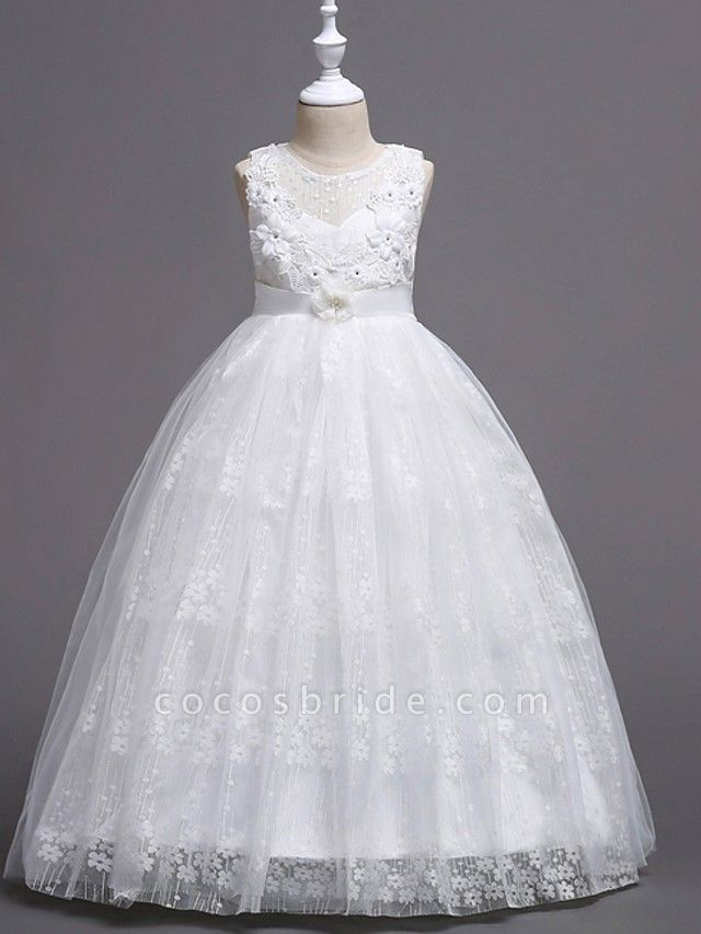 Princess / Ball Gown Floor Length Wedding / Party Flower Girl Dresses - Tulle Sleeveless Jewel Neck With Bow(S) / Flower
