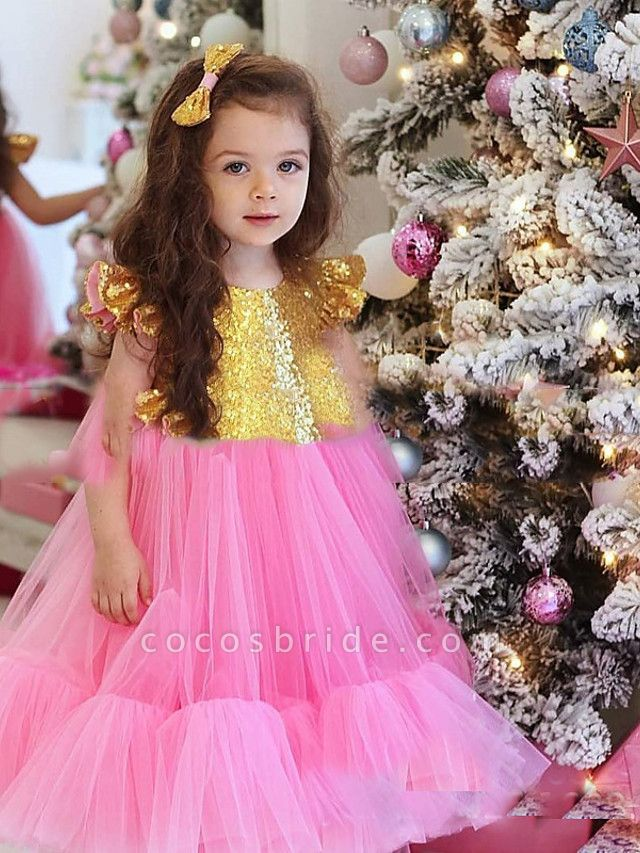 Princess / A-Line Floor Length Party / Birthday Flower Girl Dresses - Tulle Short Sleeve Jewel Neck With Splicing / Paillette