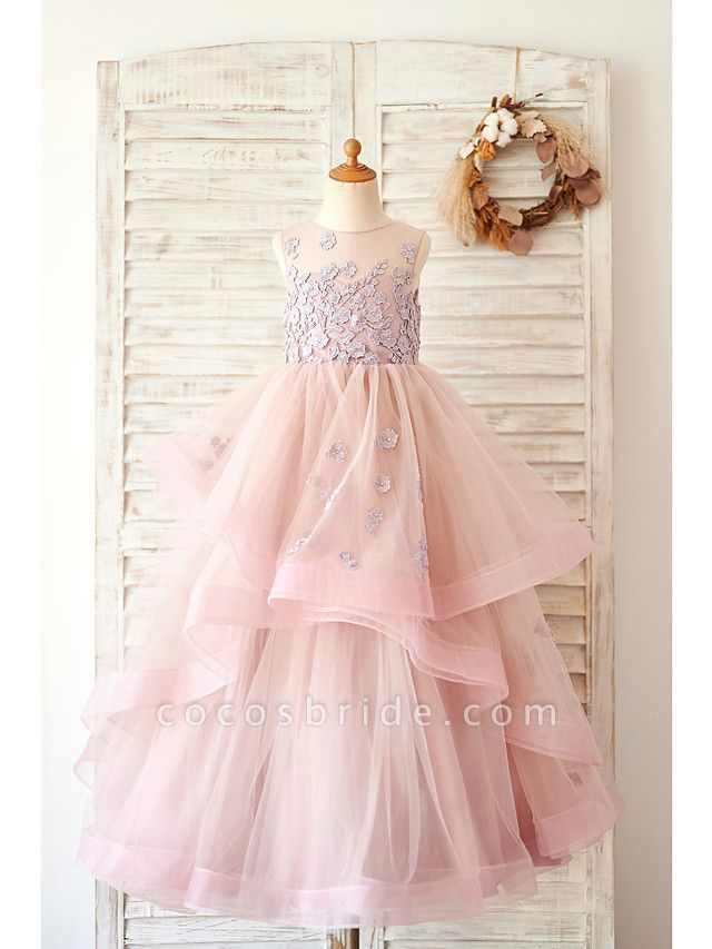 Ball Gown Floor Length Wedding / Birthday Flower Girl Dresses - Lace / Tulle Sleeveless Jewel Neck With Lace