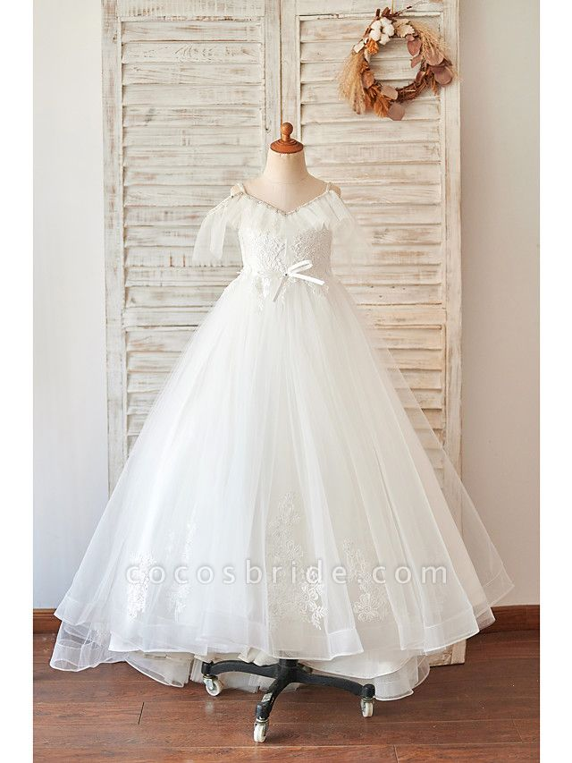 Princess / Ball Gown Floor Length Wedding / Birthday Flower Girl Dresses - Lace / Tulle Sleeveless V Neck With Bow(S) / Beading / Appliques