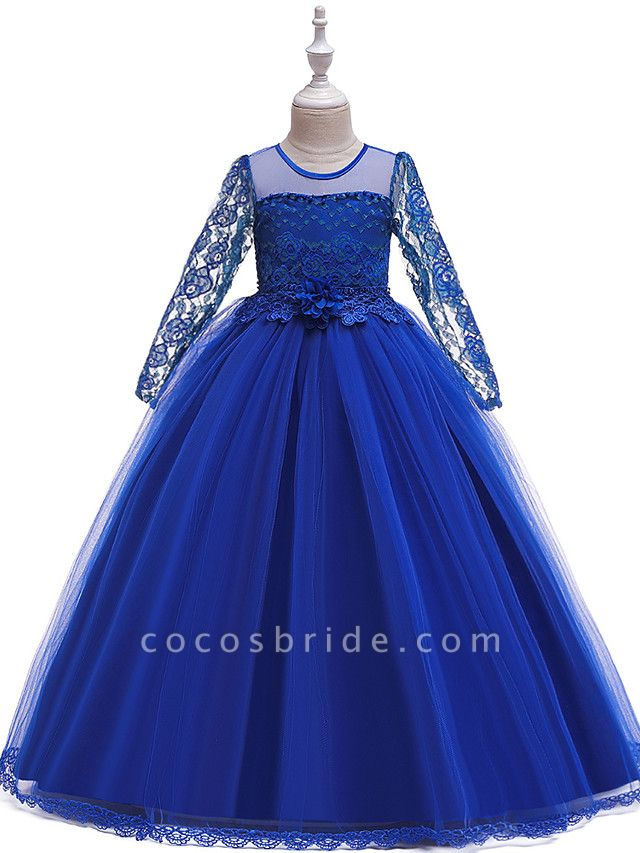 Princess Long Length Party / Pageant Flower Girl Dresses - Poly / Polyester / Cotton / Lace Long Sleeve Jewel Neck With Butterfly Design / Sash / Ribbon / Beading