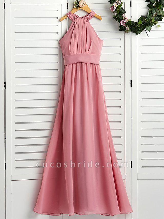 A-Line Halter Neck Maxi Chiffon Junior Bridesmaid Dress With Beading / Ruching