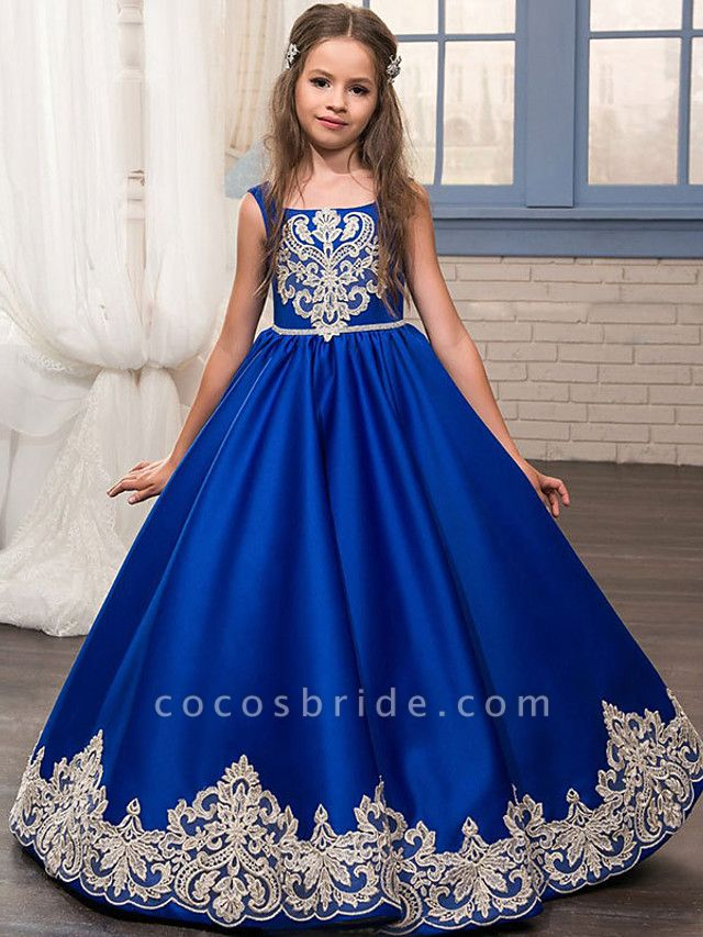 Princess / Ball Gown Floor Length Wedding / Party Flower Girl Dresses - Lace / Satin Sleeveless Jewel Neck With Bow(S) / Appliques