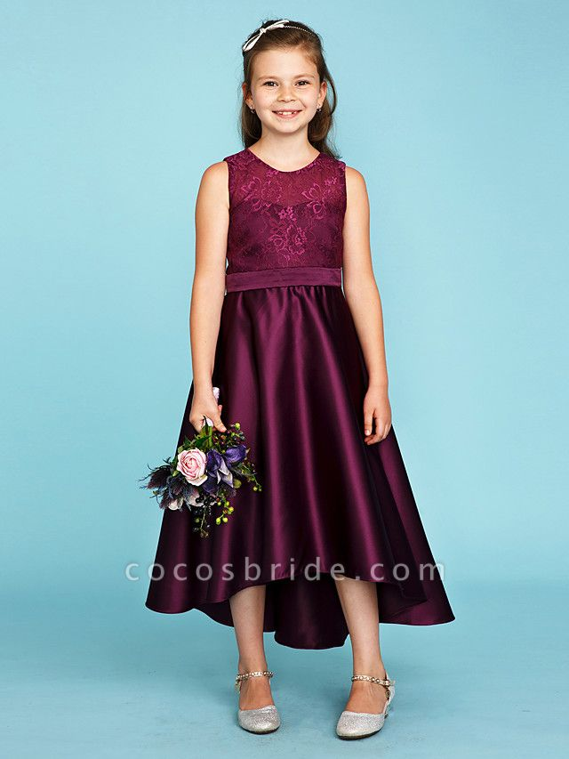 Princess / A-Line Jewel Neck Asymmetrical Lace / Satin Junior Bridesmaid Dress With Sash / Ribbon / Wedding Party / See Through