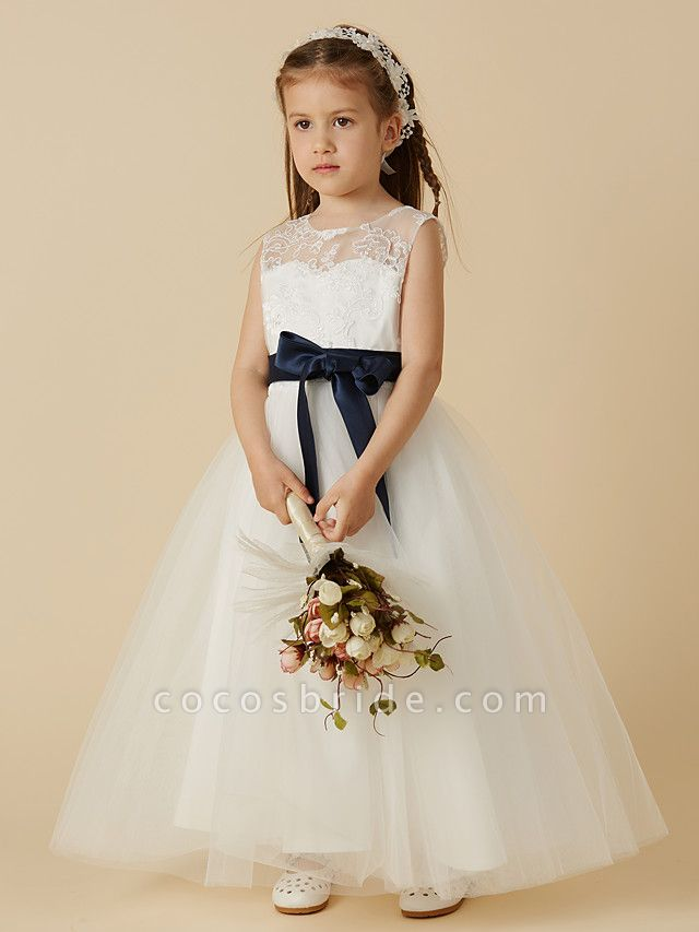 A-Line Ankle Length Wedding / First Communion Flower Girl Dresses - Lace / Tulle Sleeveless Jewel Neck With Sash / Ribbon / Bow(S) / Buttons