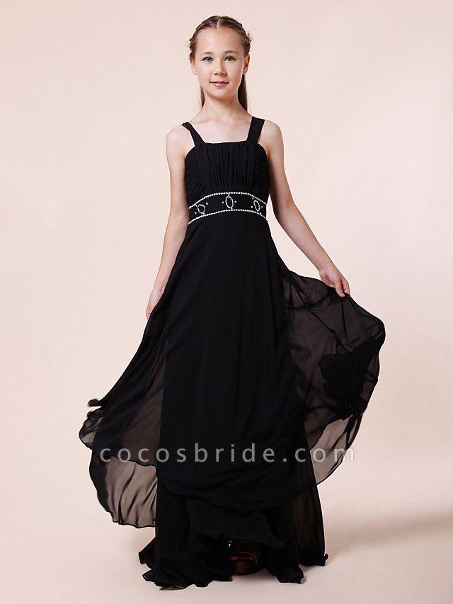 Sheath / Column Straps Floor Length Chiffon Junior Bridesmaid Dress With Beading / Draping / Empire / Spring / Summer / Fall / Winter