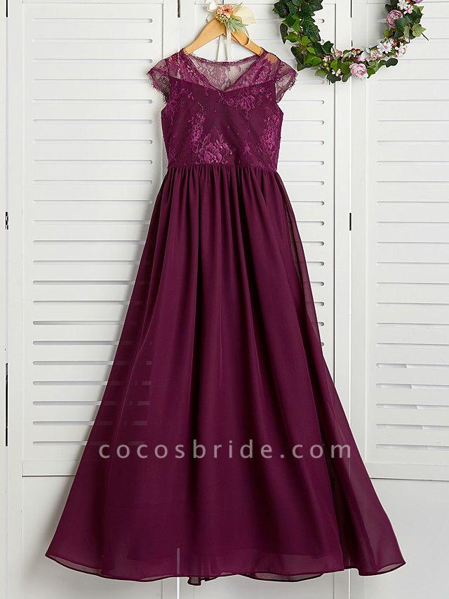 A-Line V Neck Maxi Chiffon / Lace Junior Bridesmaid Dress With Appliques