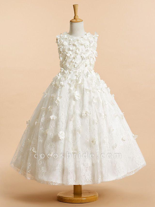 A-Line Tea Length Wedding / First Communion Flower Girl Dresses - Lace Sleeveless Jewel Neck With Flower