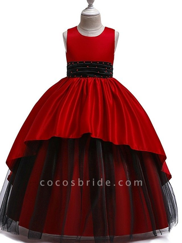 Princess Round Floor Length Cotton Junior Bridesmaid Dress With Bow(S) / Ruching