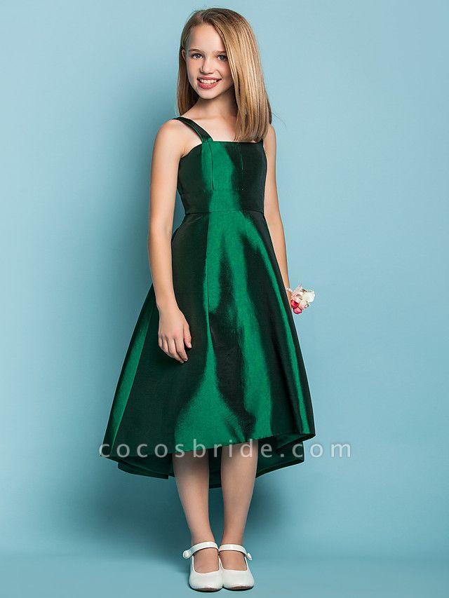 A-Line Straps Asymmetrical Taffeta Junior Bridesmaid Dress With Sash / Ribbon / Spring / Summer / Fall / Apple / Hourglass