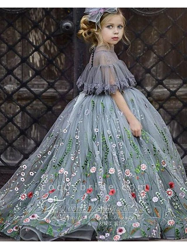 Ball Gown Sweep / Brush Train Wedding Flower Girl Dresses - Tulle Short Sleeve Jewel Neck With Appliques