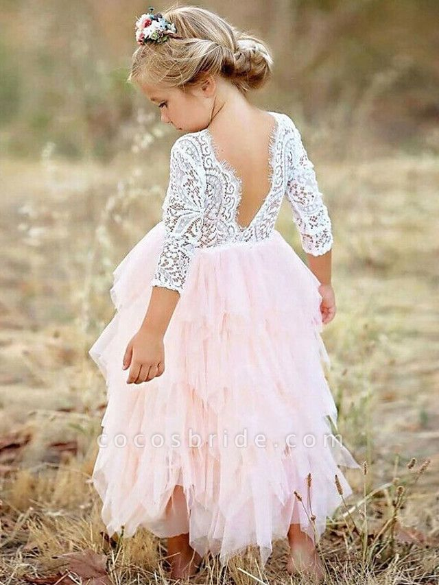Princess / Ball Gown Floor Length Wedding / Party Flower Girl Dresses - Lace / Tulle Long Sleeve Jewel Neck With Bow(S)