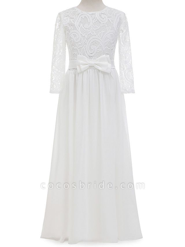 Sheath / Column Long Length Christmas / Wedding / First Communion Flower Girl Dresses - Chiffon / Lace Long Sleeve Jewel Neck With Lace / Bow(S)