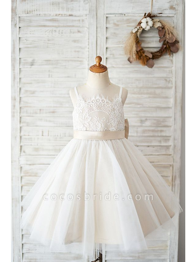Ball Gown Knee Length Wedding / Birthday Flower Girl Dresses - Lace / Tulle Sleeveless Spaghetti Strap With Bow(S)