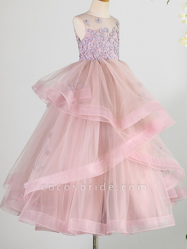 Princess Floor Length Wedding / Birthday / Pageant Flower Girl Dresses - Lace / Tulle Sleeveless Jewel Neck With Beading / Appliques
