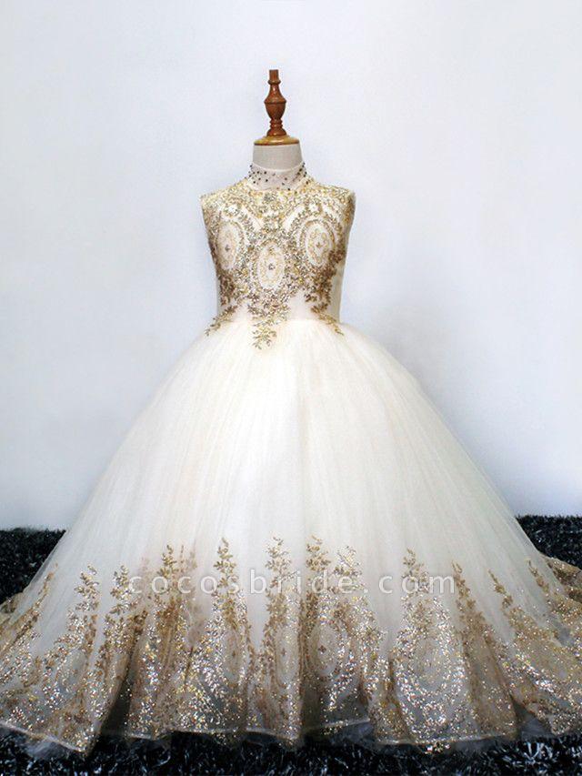 Princess Sweep / Brush Train Wedding / Birthday / Pageant Flower Girl Dresses - Tulle Sleeveless High Neck With Crystals / Rhinestones
