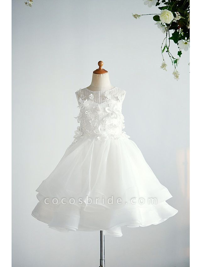 Ball Gown Knee Length Wedding / Birthday Flower Girl Dresses - Organza / Tulle Sleeveless Jewel Neck With Appliques