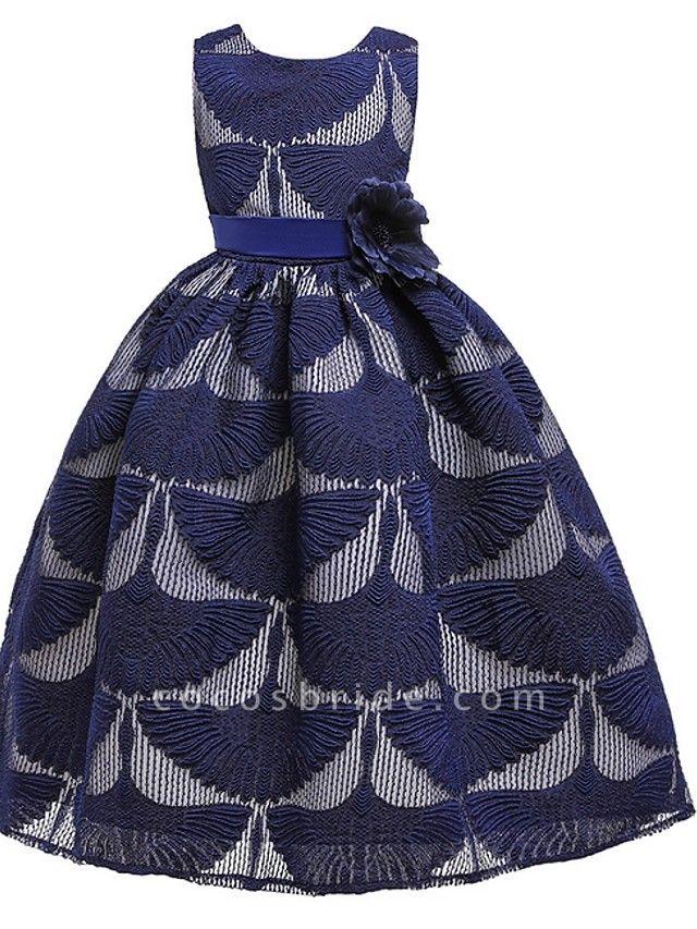 Princess Round Floor Length Cotton Junior Bridesmaid Dress With Bow(S)