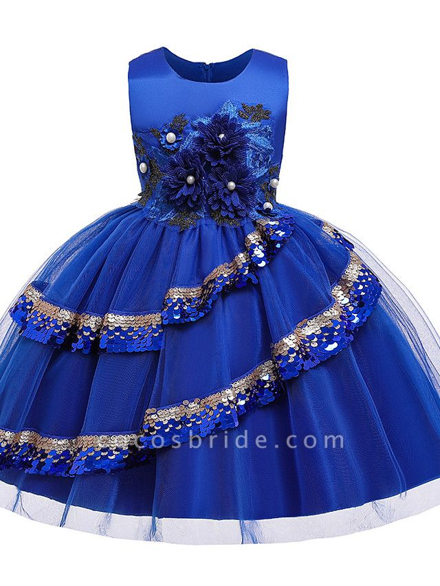 Princess Knee Length Pageant Flower Girl Dresses - Poly / Polyester / Cotton Sleeveless Jewel Neck With Butterfly Design / Beading / Appliques