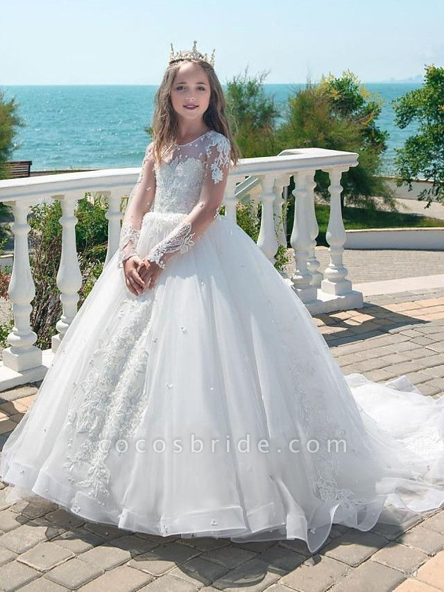 Princess / Ball Gown Court Train Wedding / Party Flower Girl Dresses - Lace Long Sleeve Jewel Neck With Lace / Pleats / Appliques