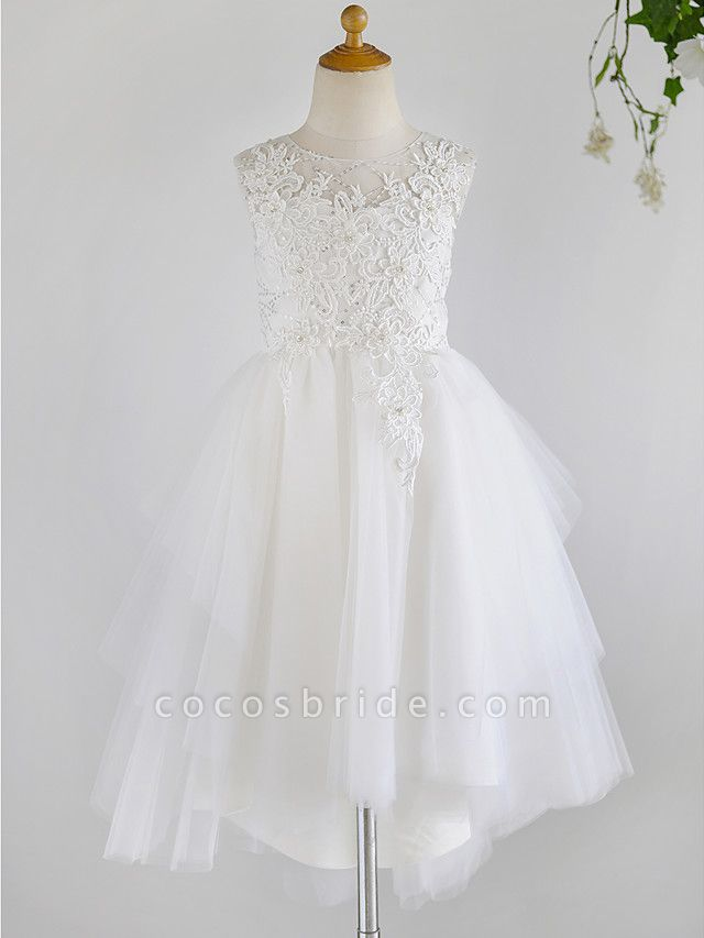 Ball Gown Asymmetrical Wedding / First Communion / Birthday Flower Girl Dresses - Lace / Tulle Sleeveless Jewel Neck With Beading