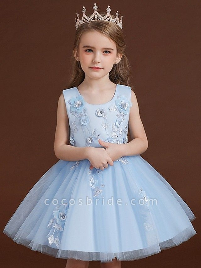Princess / Ball Gown Knee Length Wedding / Party Flower Girl Dresses - Tulle / Satin Chiffon Sleeveless Jewel Neck With Bow(S) / Appliques