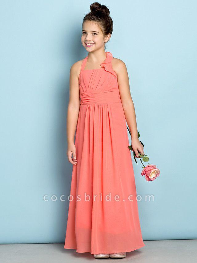 Sheath / Column Halter Neck Ankle Length Chiffon Junior Bridesmaid Dress With Side Draping / Natural / Mini Me