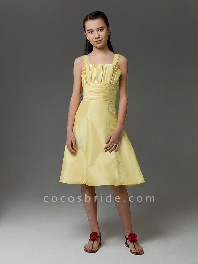 Princess / A-Line Straps Knee Length Taffeta Junior Bridesmaid Dress With Ruched / Crystals / Spring / Summer / Fall / Apple / Hourglass