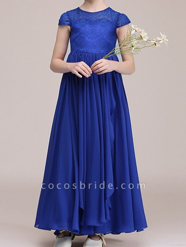A-Line Ankle Length Pageant Flower Girl Dresses - Polyester Cap Sleeve Jewel Neck With Lace